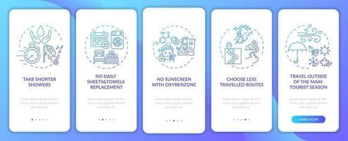 Ideen für nachhaltigen Tourismus auf dem Bildschirm der mobilen App-Seite mit Konzepten vektor