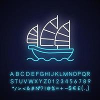 Junk-Schiff Neonlicht-Symbol vektor