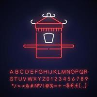 chinesische Limousine Stuhl Neonlicht Ikone vektor