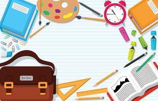 flacher Schulbedarf Hintergrund vektor