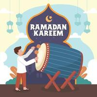 junger Mann schlägt Bettwanze, um iftar anzukündigen vektor