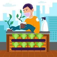 städtische Öko-Gartenarbeit vektor