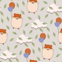 nahtloses Muster über Hamster, der Luftballons hält vektor