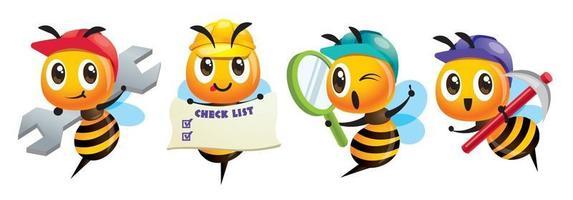 Karikatur niedliche Bienenkonstruktionsserie, die verschiedene Werkzeuge hält vektor