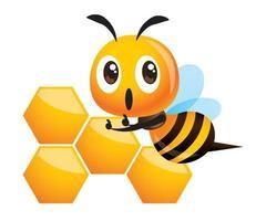 Cartoon niedliche Biene, die Daumen oben mit großem Wabenmuster zeigt vektor
