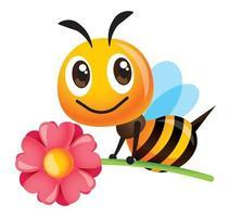 Karikatur niedliche Biene, die eine große rosa Blume für Muttertag der Feier trägt vektor