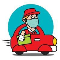 Der Zusteller trägt eine geschützte Gesichtsmaske, die ein rotes Miniauto fährt, um das Paket während der Pandemie schnell auszuliefern vektor