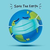 Krankheitsplanet trägt Gesichtsmaske und sucht Hilfe, um die Erde zu retten vektor