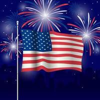 USA Flagge mit Feuerwerk Hintergrund vektor