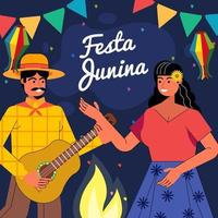Illustration des Paares, das am festa junina Festival tanzt und singt vektor
