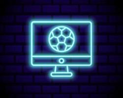 Live Fußball Leuchtreklame Vektor. Live-Fußball-Logo Neon, Design-Vorlage Emblem, Online-Fußball-Symbol, Licht Banner, helle Nacht Fußball Werbung, europäisches Fußball-Zeichen. Vektorillustration lokalisiert auf Backsteinmauer. vektor
