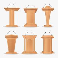 Vektor Set Holzpodest Tribüne mit Mikrofonen