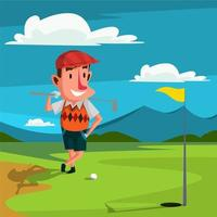 Ein Mann, der Golf im Freien spielt vektor
