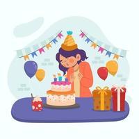 Frauen feiert ihren Geburtstag vektor