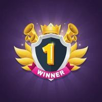 Spiel Gewinner Abzeichen Design mit glänzender Krone und Stern Auszeichnung vektor