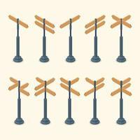 Satz isometrische leere Verkehrszeichen Ampeln und Plakatwand vektor