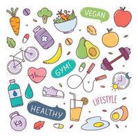 hälsosam livsstil söt doodle handritad element vektorillustration vektor