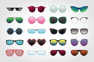 Satz Sonnenbrillensammlungen lokalisiert auf weißem Hintergrund vektor