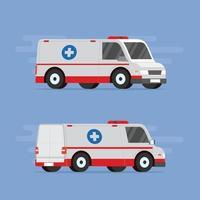 Krankenwagen für eine flache Vektorillustration des Rettungsdienstes vektor