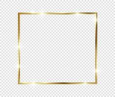 goldener Luxus Vintage realistischer Gold glänzender leuchtender Rahmen vektor