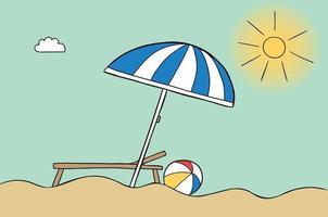 Cartoon Vektor-Illustration von Sonnenschirm Strand sonniges Wetter Sonnenbank und Seeball vektor