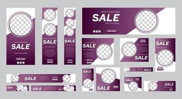 Set von Verkauf Web-Banner Vorlage von Standardgröße mit Platz für Fotos vektor