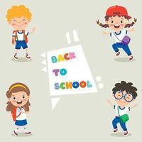 glückliche niedliche Cartoon-Schulkinder vektor