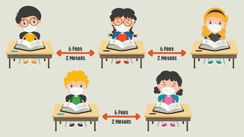 soziale Distanzregeln für Kinder vektor