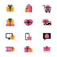 orange und rosa Geschenkbox für die Lieben vektor
