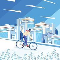Mann, der mit futuristischem Stadtgebäudekonzept radelt vektor