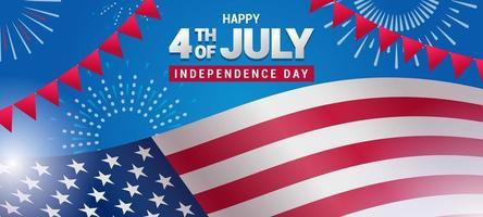 4. Juli Unabhängigkeitstag amerikanische Flagge Hintergrund Design vektor