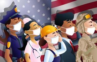 vierter Juli Amerikaner mit Masken und Flagge vektor
