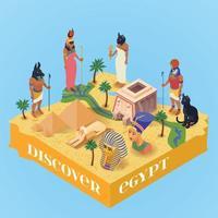 isometrische Ägypten Poster Vektor-Illustration vektor