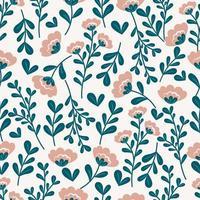 botanisches nahtloses Muster mit Blüten und Blättern vektor