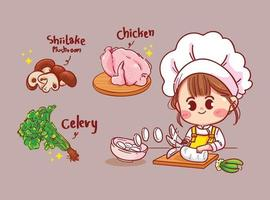 niedlicher Koch der glücklichen Frau, der Essen in der Küchenkarikaturkunstillustration kocht vektor
