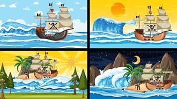 Satz von verschiedenen Strandszenen mit Piratenschiff und Piratenzeichentrickfigur vektor