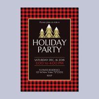 Holiday Party Invitation med Buffalo Plaid Theme