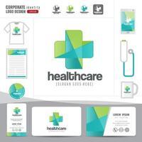Logo Design medizinische Gesundheitsversorgung oder Krankenhaus und Visitenkarte Vorlage, sauberes und modernes Muster vektor