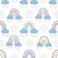 abstrakter Regenbogen mit Wolken und Regentropfen, Kritzeleien und Kreisen in einem nahtlosen Muster. Kindermuster in gedeckten Pastellfarben. handgezeichnete Vektorillustration vektor