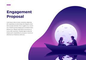 Förlovningsförslag på båt vektor