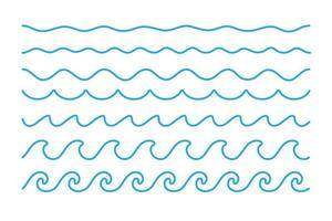 Wasserwellenvektor. Wellen, die in Seen und Ozeanen schwanken, lokalisiert auf weißem Hintergrund vektor
