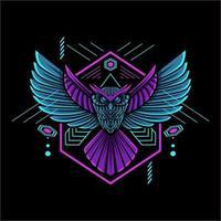 Eule geometrisches Maskottchen mit Neonfarbe vektor