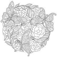 Schmetterling im Rosengarten, handgezeichnete Skizze für Malbuch für Erwachsene vektor
