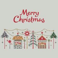 Frohe Weihnachtskarte mit Baum und Ladenvektorillustration vektor