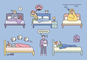 Menschen, die aufgrund verschiedener Probleme an Schlaflosigkeit leiden vektor