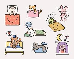 niedliche Tierfiguren schlafen in verschiedenen Posen vektor
