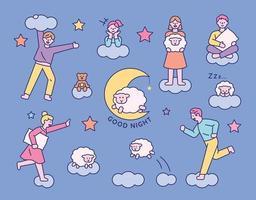 Menschen, die in ihren Träumen über den Wolken rennen vektor