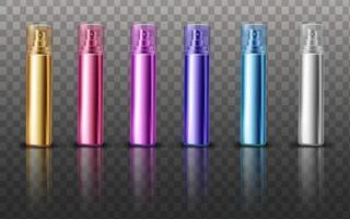 kosmetisches Verpackungsdesignset mit leerem Parfümmodell vektor