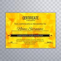 Polygonschablonenvektor des modernen Zertifikatentwurfs bunter