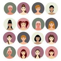 Satz von Frauenfrisuren Avatar. schöne junge Mädchen mit verschiedenen Frisuren lokalisiert auf einem weißen Hintergrund vektor